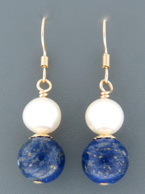 Lapis Lazuli Earrings with Pearls - 14ct Gold Filled - LL514G