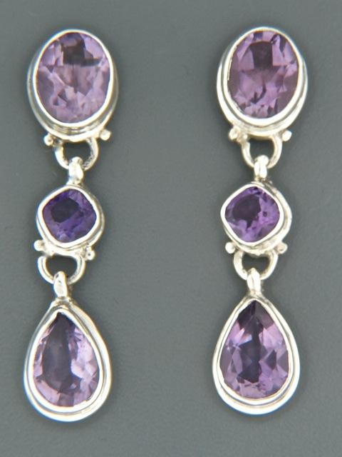 Amethyst Earrings - Sterling Silver stud - A679