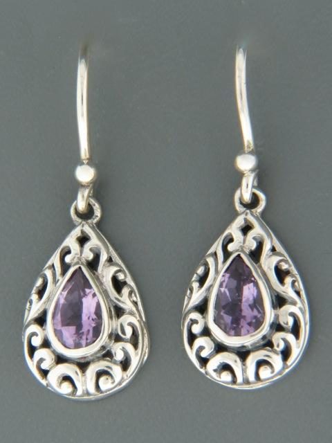 Amethyst Earrings - Sterling Silver - A678