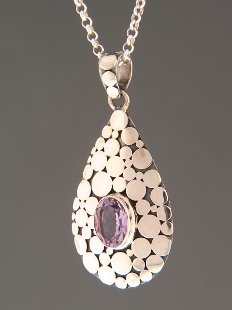 Amethyst Pendant - Sterling Silver - A337
