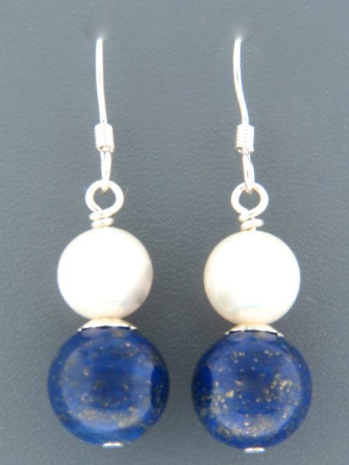Lapis Lazuli Earrings with Pearls - Sterling Silver - LL514