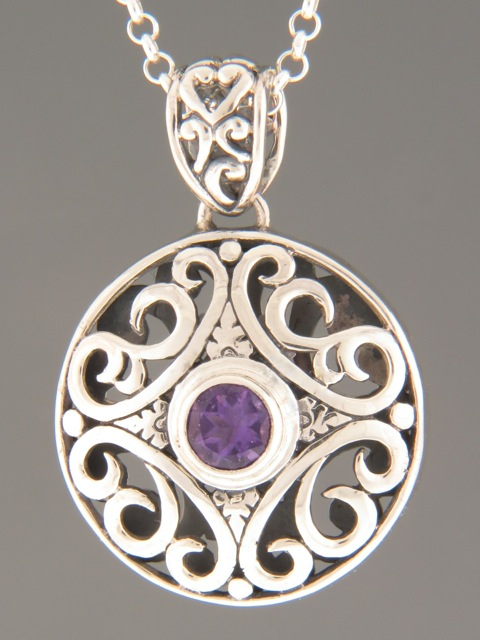 Amethyst Pendant - Sterling Silver - A338