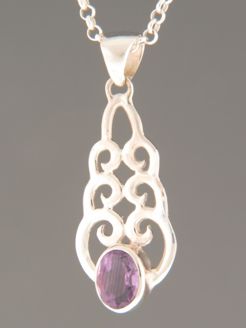 Amethyst Pendant - Sterling Silver - A340