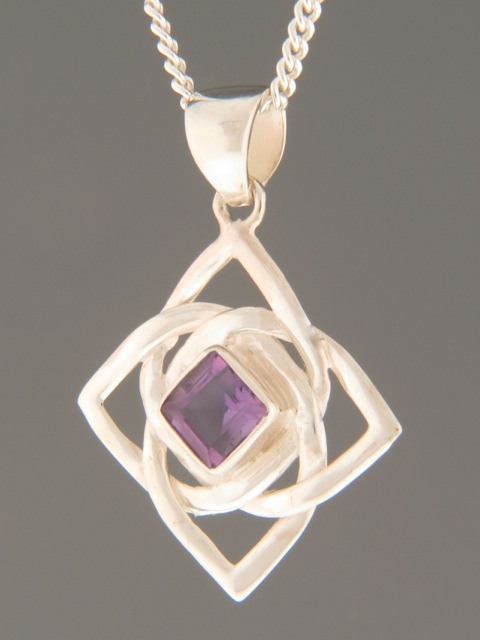 Amethyst Pendant - Sterling Silver - A341