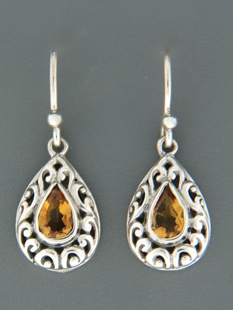 Citrine Earrings - Sterling Silver - C542