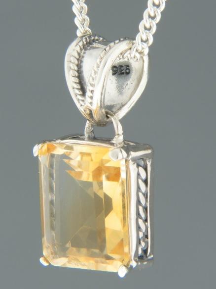 Citrine Pendant - Sterling Silver - C302