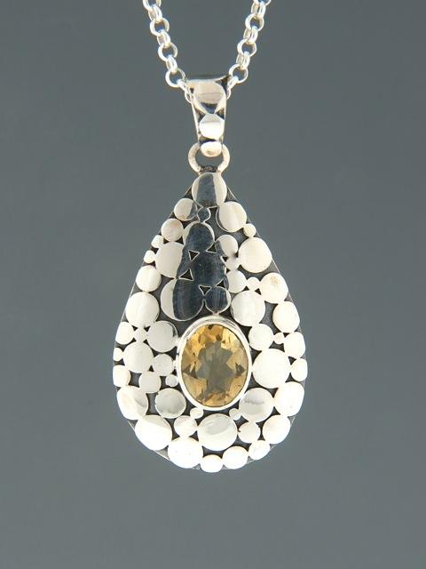 Citrine Pendant - Sterling Silver - C396