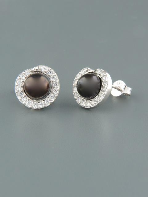 6mm dark Pearl stud Earrings with Zircon - Sterling Silver - Y501