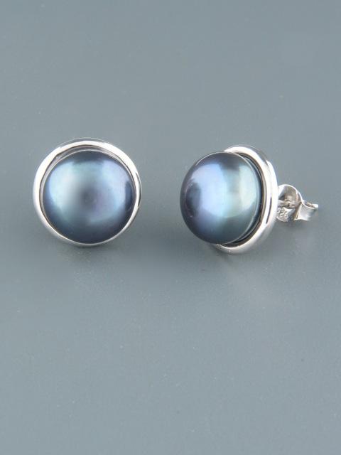 10mm dark Pearl stud Earrings - Sterling Silver - Y509