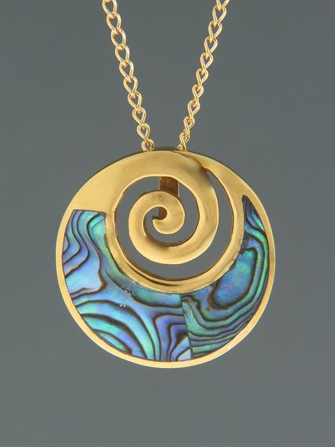 Paua Shell Pendant - Gold Vermeil - PA311GV