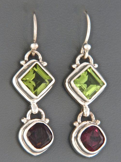 Peridot & Garnet Earrings - Sterling Silver - P510
