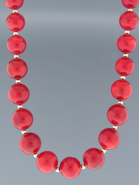 Red Coral Necklace - 12mm round stones - CO008