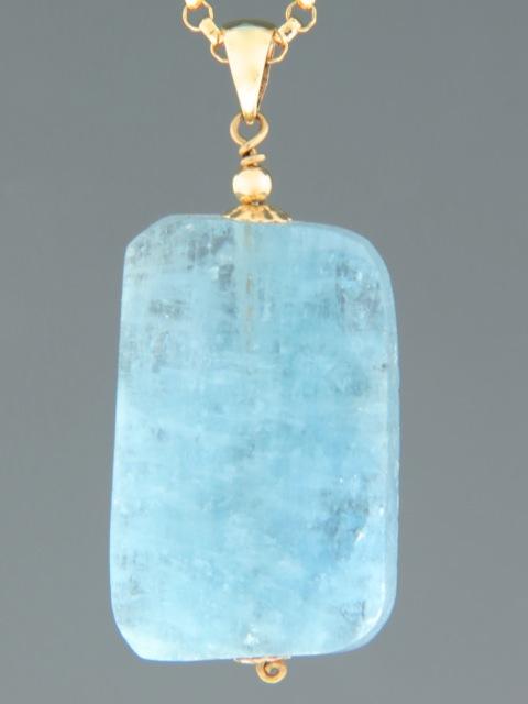 Aquamarine Pendant - 9ct Gold - AQ305