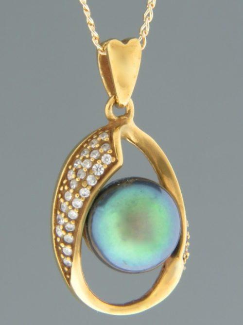 Pacific Pearl Pendant with Zircon - Gold Vermeil - Y311GV