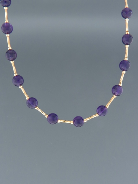 Amethyst Necklace - 6mm round stones - A006