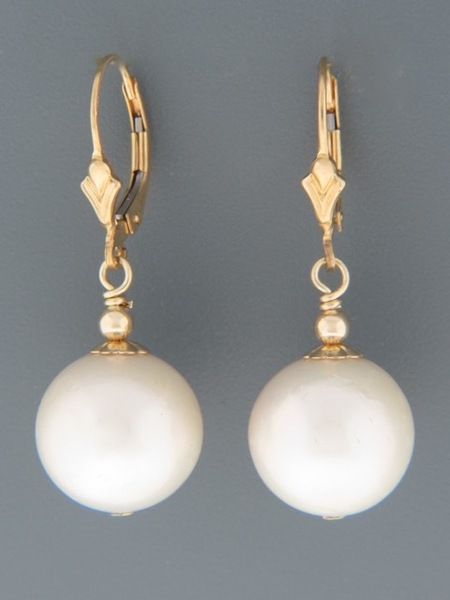13mm White Pacific Pearl Earrings - 14ct Gold Filled - YW13G