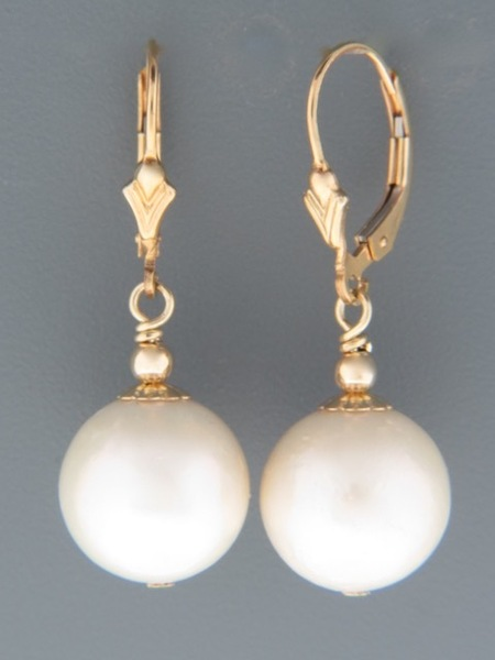 14mm White Pacific Pearl Earrings - 14ct Gold Filled - YW14G