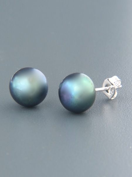 10mm dark Pacific Pearl Stud Earrings - Sterling Silver - YD10ZS