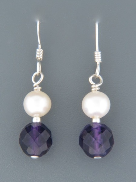 Amethyst Earrings with Pearls - Sterling Silver - A502