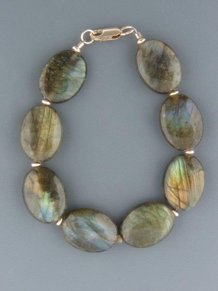 Labradorite Bracelet with Gold beads - LAB901