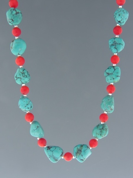 Turquoise & Red Coral Necklace - Sterling Silver - CO015