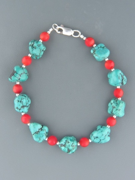 Turquoise & Red Coral Bracelet - Sterling Silver - CO901