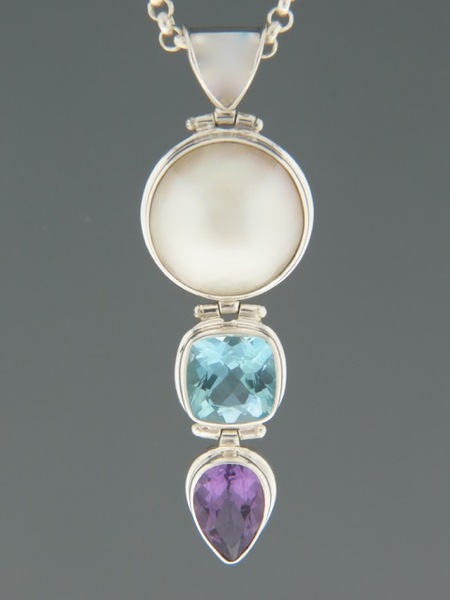 Pearl, Blue Topaz & Amethyst Pendant - Sterling Silver - X301