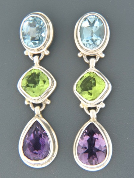 Blue Topaz, Peridot & Amethyst Earrings - Sterling Silver - X500