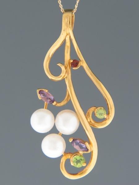 Pearl Pendant with Amethyst, Garnet & Peridot - Y494GV