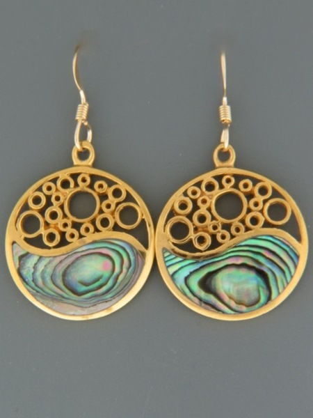 Paua Shell Earrings - Gold Vermeil - PA500