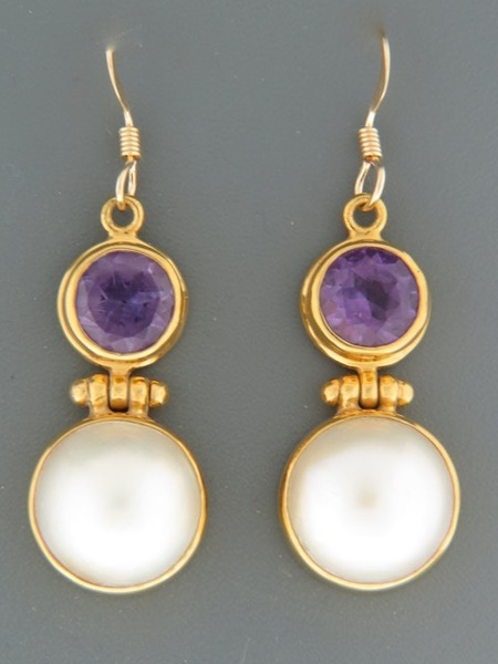 Amethyst & Pearl Earrings - Gold Vermeil - A695GV