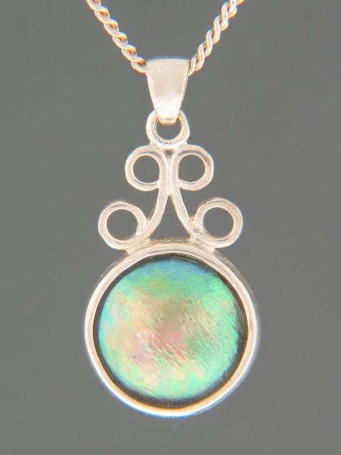 Paua Pearl Pendant - Sterling Silver - 12mm Pearl - PP371