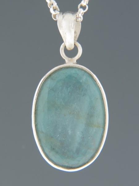 Aquamarine Pendant - Sterling Silver - AQ319