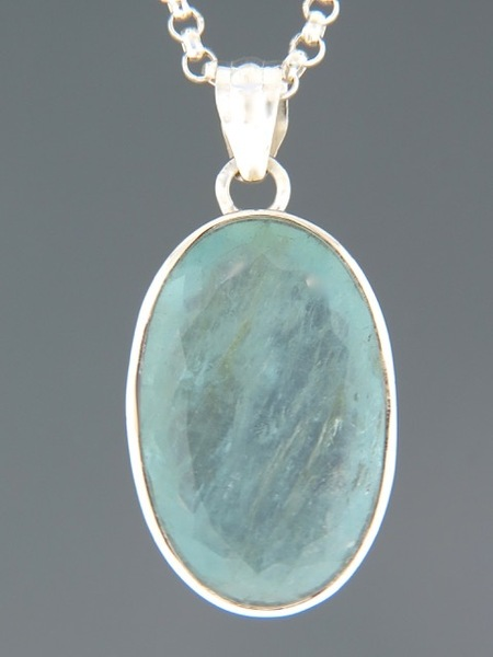 Aquamarine Pendant - Sterling Silver - AQ316