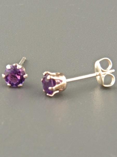 Amethyst Earrings - Sterling Silver stud - 4mm stones - A504