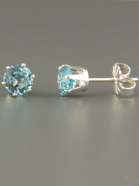Blue Topaz Stud Earrings - Sterling Silver - 5mm stones - BT505