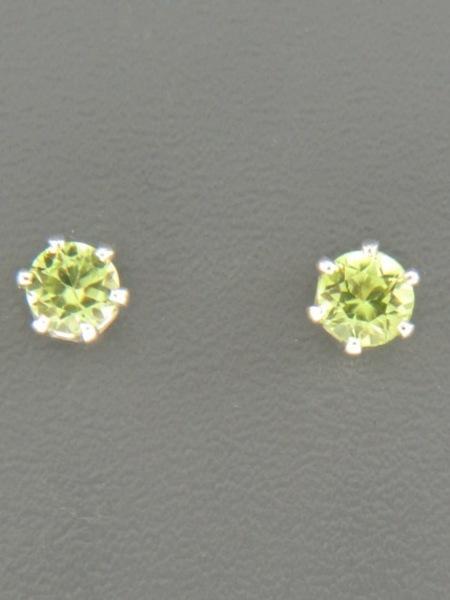 Peridot Stud Earrings - Sterling Silver - 4mm stones - P504