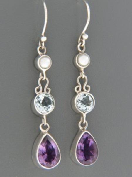 Amethyst, Blue Topaz & Pearl Earrings - Sterling Silver - A696