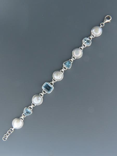 Blue Topaz & Pearl Bracelet - Sterling Silver - BT908