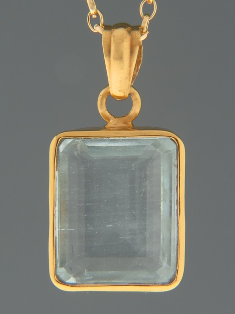 Aquamarine Pendant - Gold Vermeil - AQ349GV