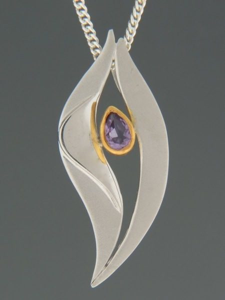 Amethyst Pendant - Sterling Silver - A334