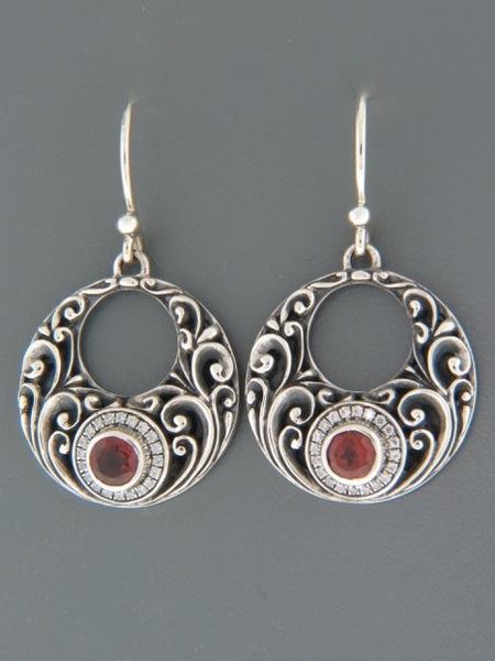 Garnet Earrings - Sterling Silver - G510