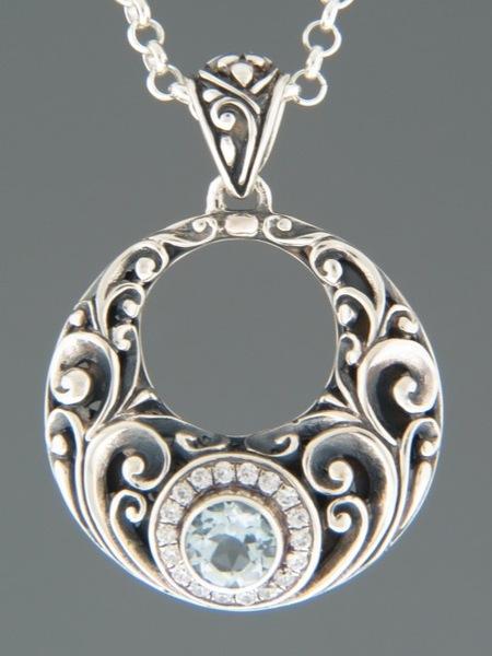 Blue Topaz Pendant - Sterling Silver - BT321