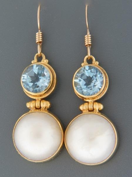 Blue Topaz & Pearl Earrings - Gold Vermeil - BT600GV