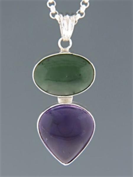 Jade & Amethyst Pendant - Sterling Silver - MIX300