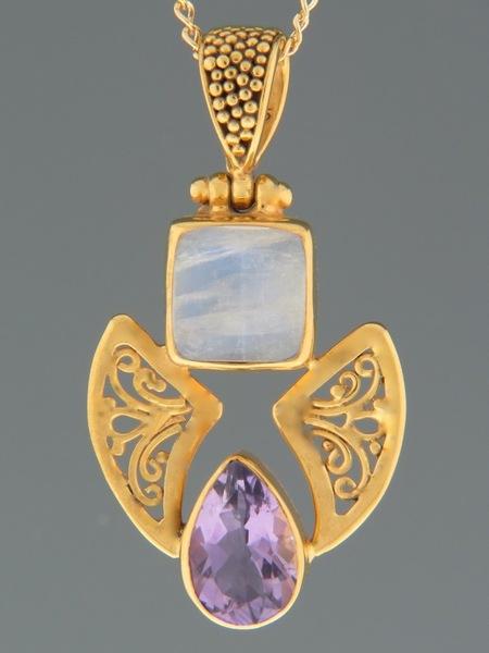 Amethyst & Moonstone Pendant - Gold Vermeil - A493GV