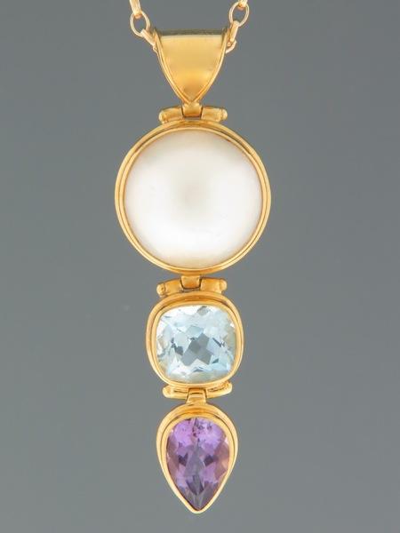 Pearl, Blue Topaz & Amethyst Pendant - Gold Vermeil - X301GV