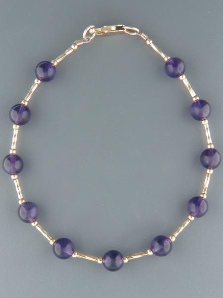 Amethyst Bracelet - 6mm round smooth stones - A900