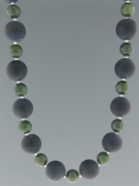 Onyx & Jade Necklace - 48cm length - OX007