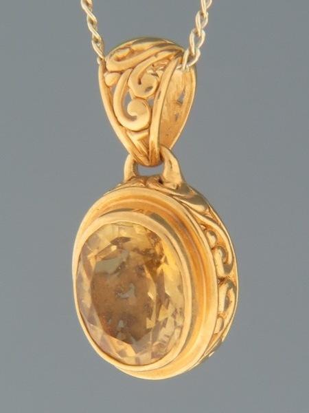 Citrine Pendant - Gold Vermeil - C395GV